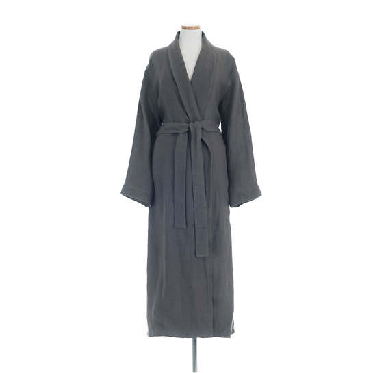 Stone Washed Linen Shale Robe