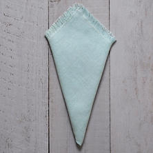 Stone Washed Linen Sky Fringe Napkin/Set Of 4