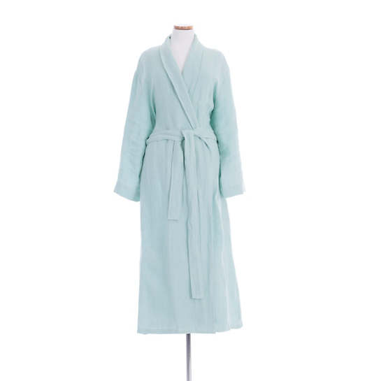 Stone Washed Linen Sky Robe