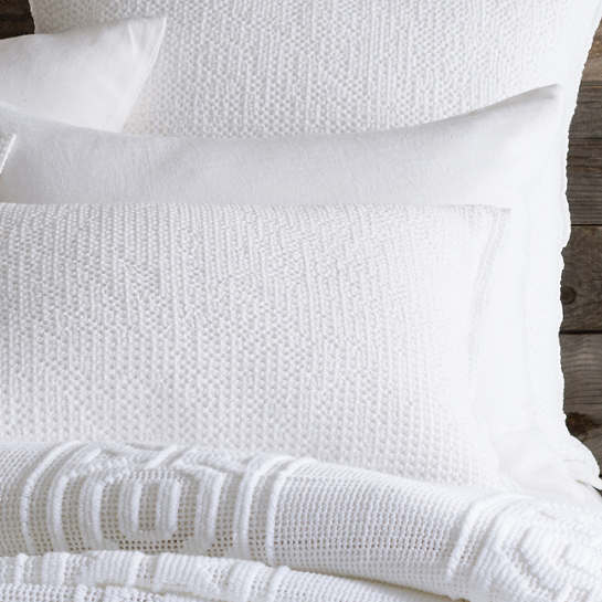 Stone Washed Linen White Sham