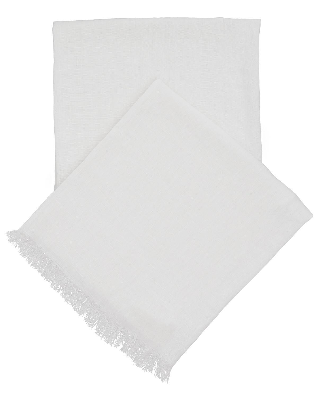 Stone Washed Linen White Throw