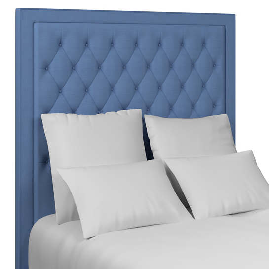 Estate Linen French Blue Stonington Tufted Headboard