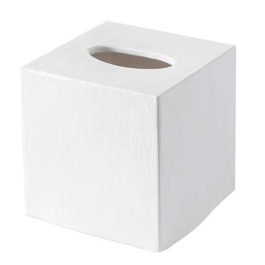 Cordoba White Burlap Tissue Box