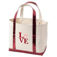 Puppy Love Glam Canvas Natural/Cranberry Tote Bag