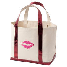 Smooch Glam Canvas Natural/Cranberry Tote Bag