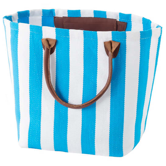 Trimaran Stripe Turquoise/White Tote Bag
