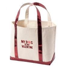 Valentine Glam Canvas Natural/Cranberry Tote Bag