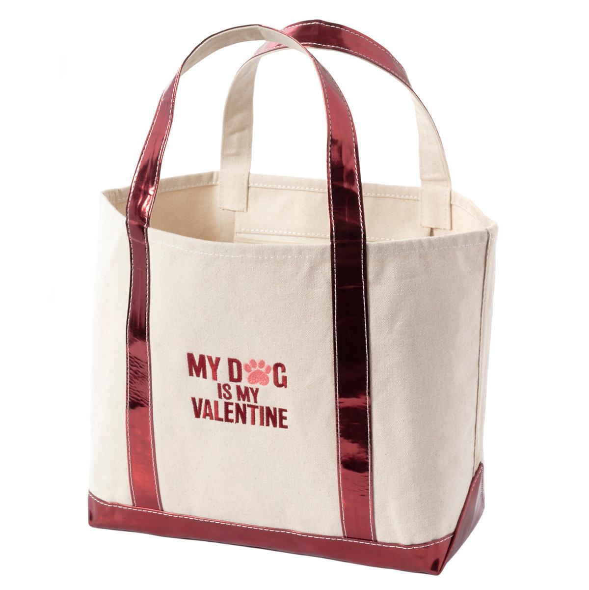 Valentine Glam Canvas Natural/Cranberry Tote Bag