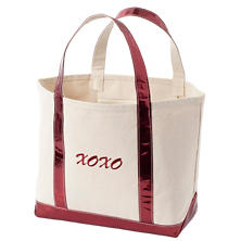 Xoxo Glam Canvas Natural/Cranberry Tote Bag