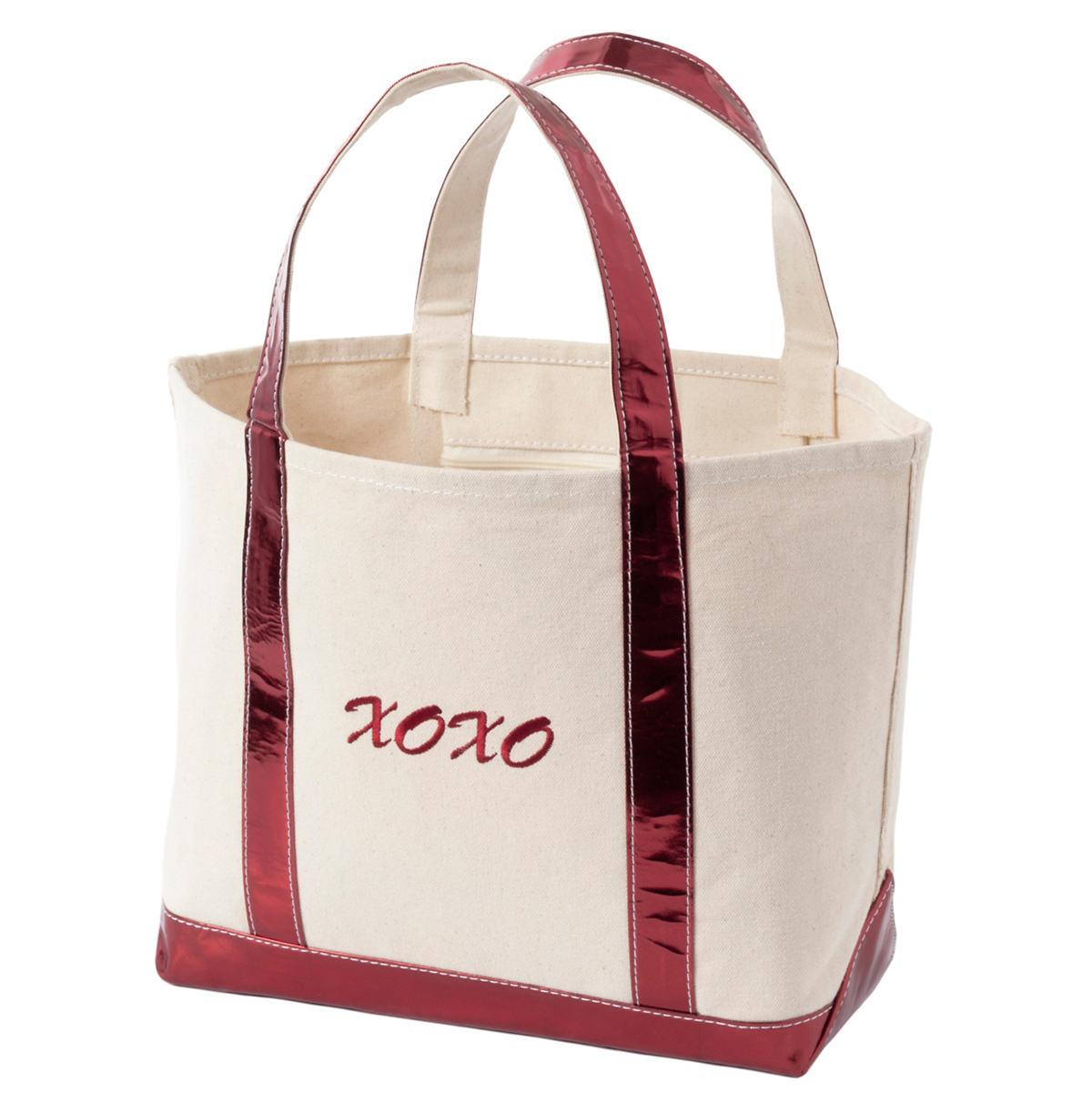 Xoxo Glam Canvas Natural/Cranberry Tote Bag