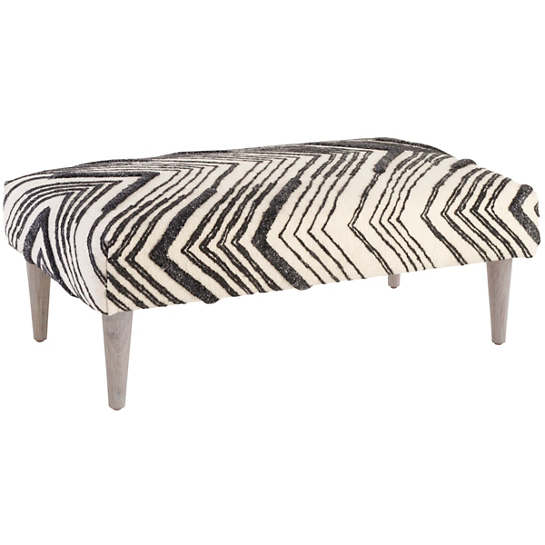 Tasha Tapered Cerused Oak Leg Rug Ottoman