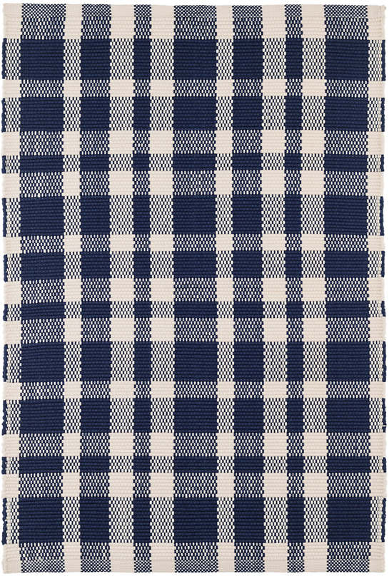 Tattersall Indigo Indoor/Outdoor Rug