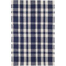 Tattersall Indigo Woven Cotton Rug