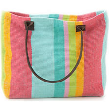 Tiki Stripe Woven Cotton Tote Bag