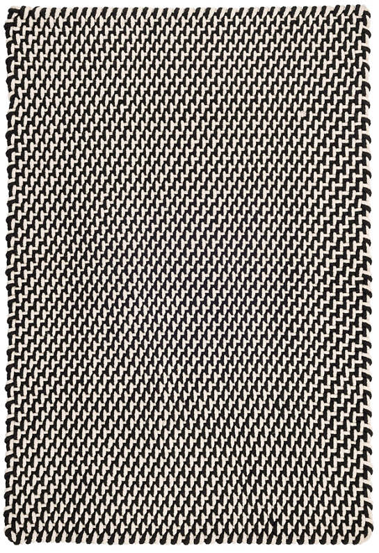 Two-Tone Rope Black/Ivory Indoor/Outdoor Rug