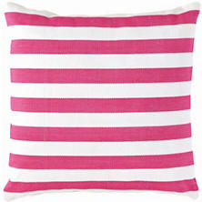 Trimaran Stripe Fuchsia/White Indoor/Outdoor Pillow