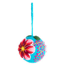 Turquoise Embroidered Ball Ornament