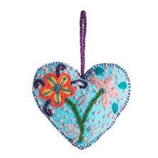 Turquoise Embroidered Heart Ornament