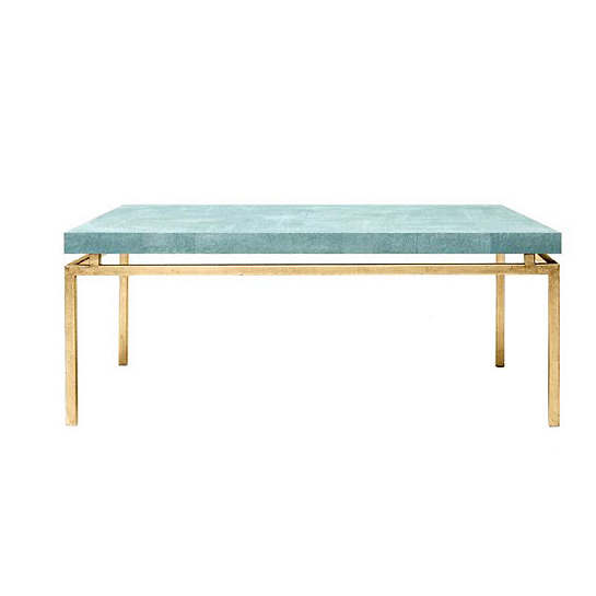 Turquoise Faux Shagreen Benjamin Coffee Table