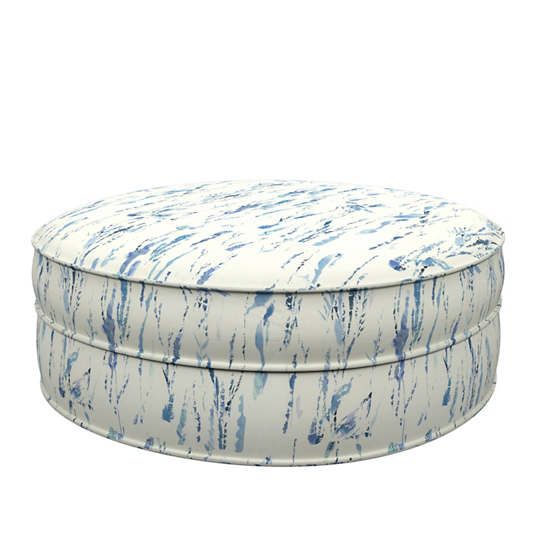 Tweet Blue Palm Court Ottoman