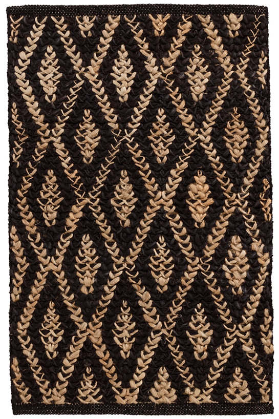 Two-Tone Diamond Black/Natural Woven Jute Rug