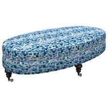 Villa Tile Blue Kendall Ottoman