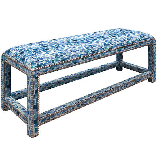 Villa Tile Blue Lexington Bench