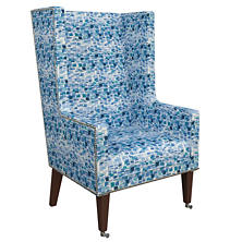 Villa Tile Blue Neo-Wing Chair