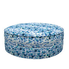 Villa Tile Blue Palm Court Ottoman