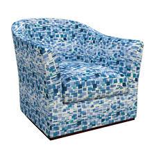 Villa Tile Blue Thunderbird Swivel Chair