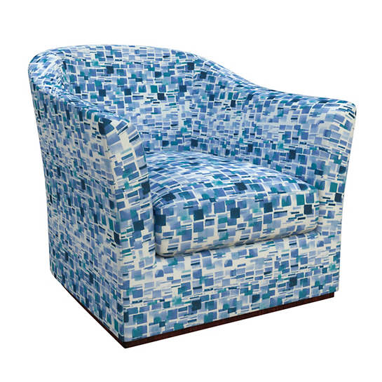 Villa Tile Blue Thunderbird Swivel Chair