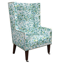 Villa Tile Green Neo-Wing Chair