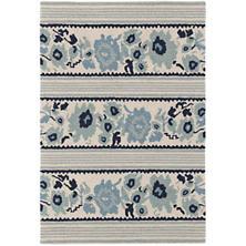 Vintage Floral Stripe Micro Hooked Wool Rug