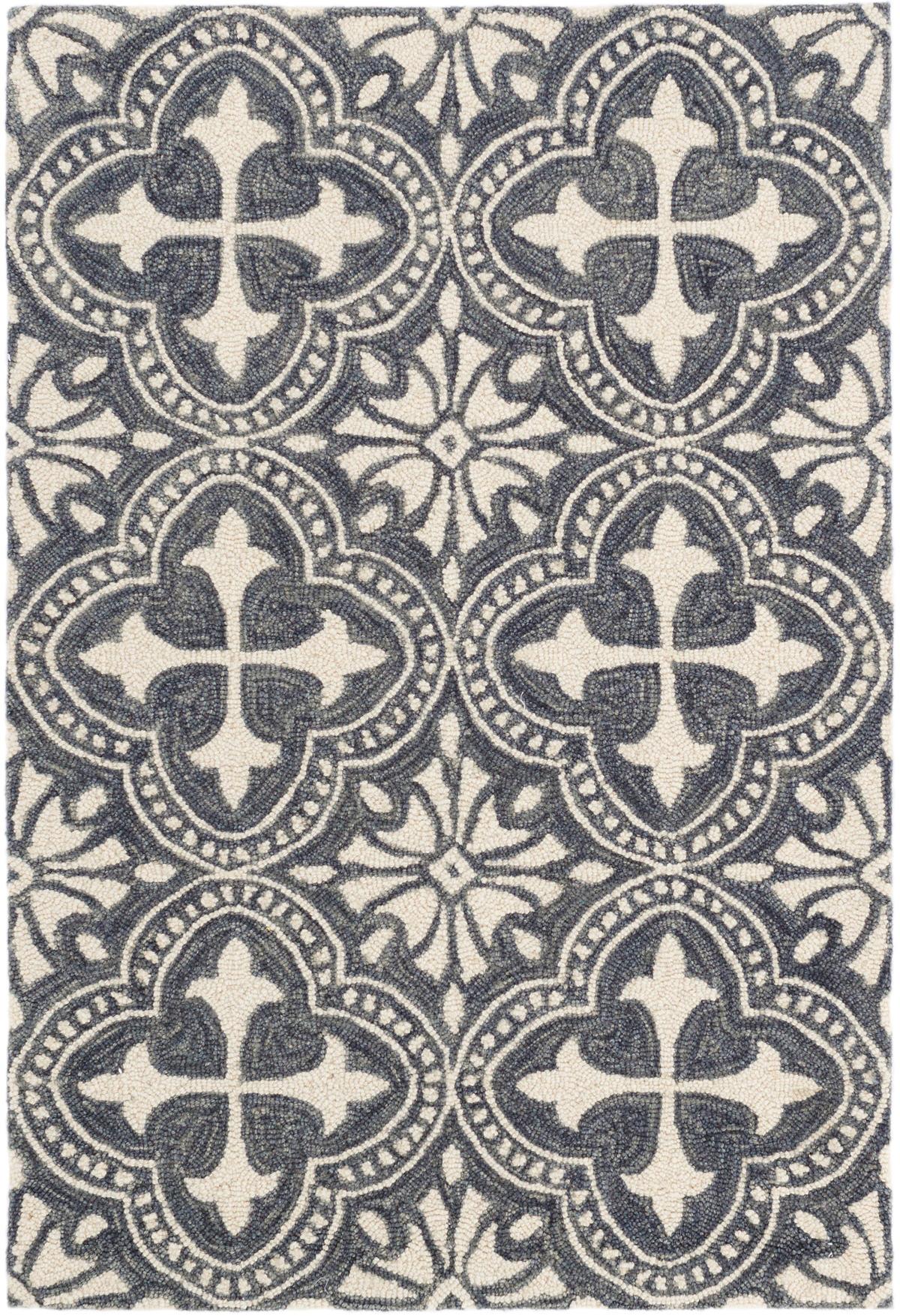 Vintage Tile Blue Micro Hooked Wool Rug