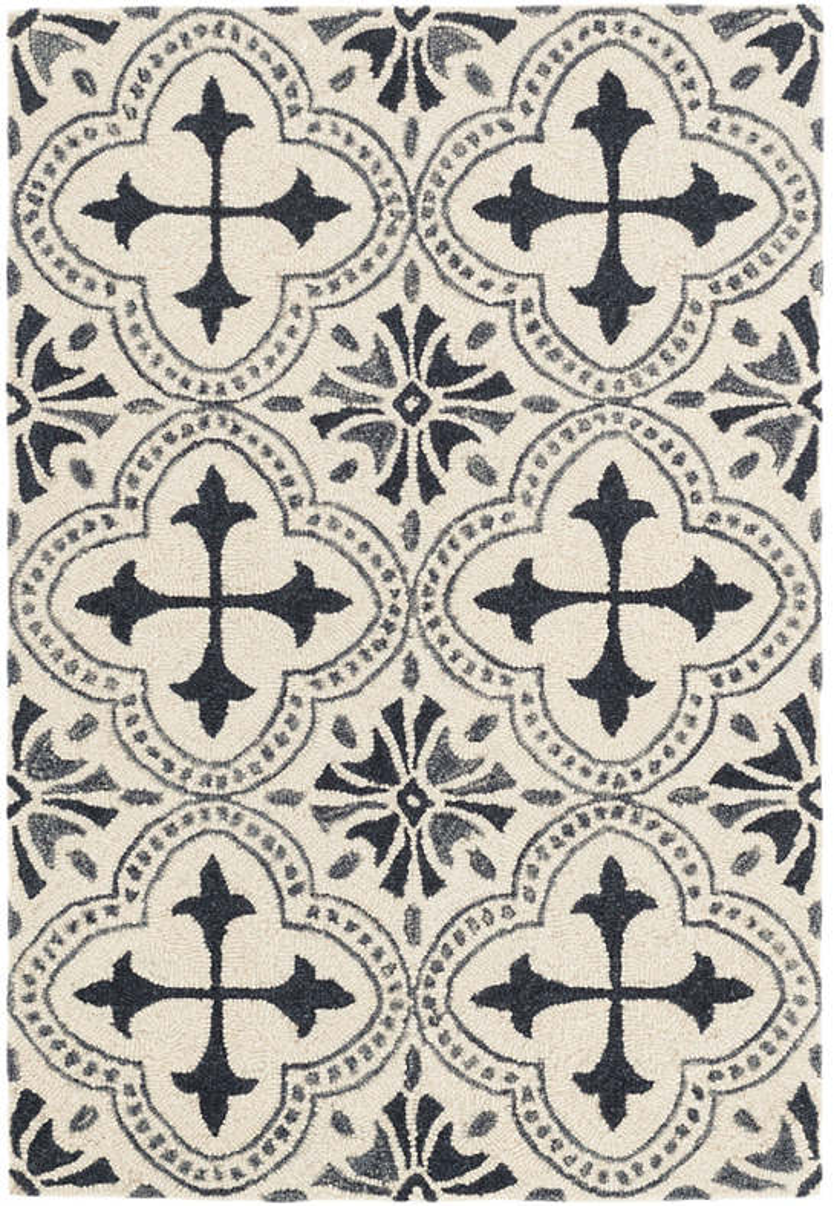 Vintage Tile Ivory Micro Hooked Wool Rug
