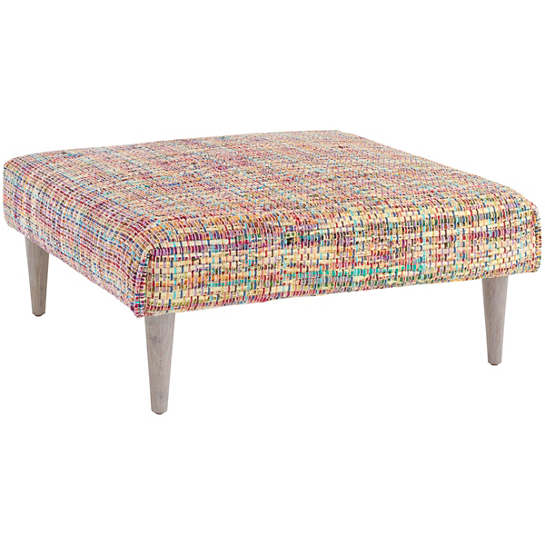 Vista Chindi Tapered Cerused Oak Leg Rug Ottoman