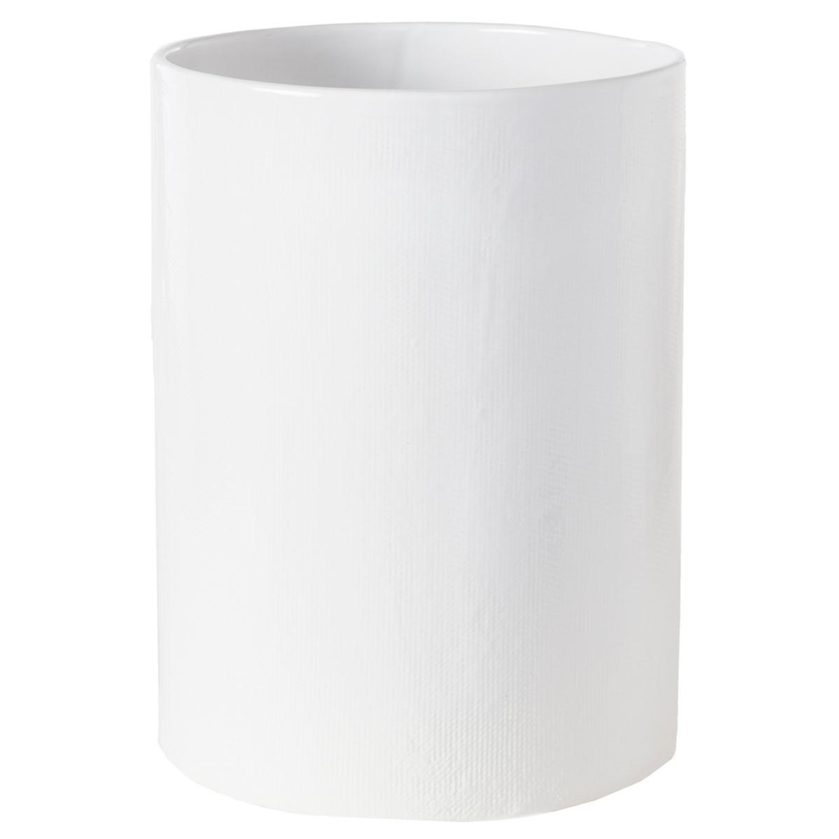 Cordoba White Burlap Wastebasket