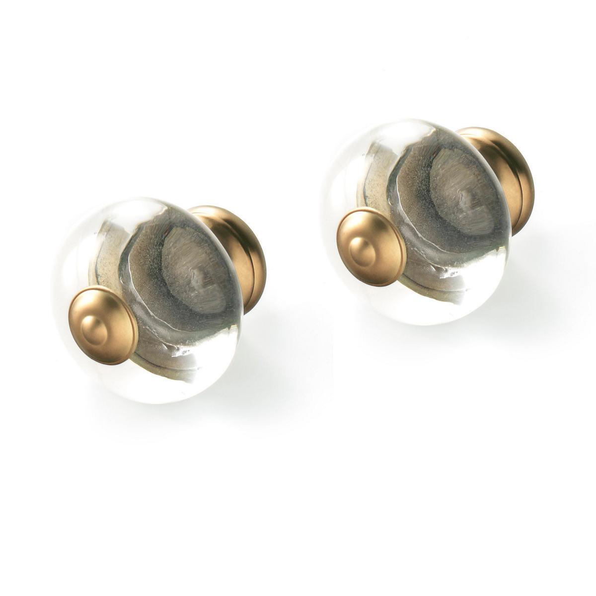 Glass Knob Satin Brass Finials/Set of 2