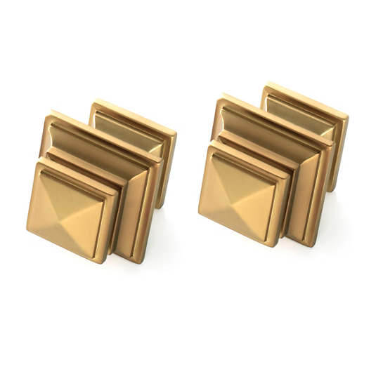 Square Satin Brass Finials/Set of 2