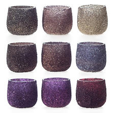 Warm Jewel Tone Sparkle Tealight Holder/Set Of 9