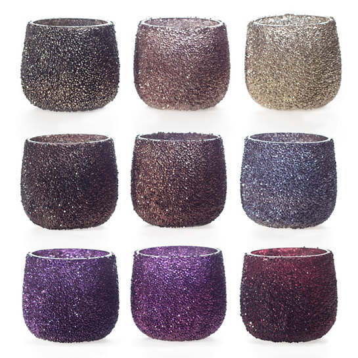 Warm Jewel Tone Sparkle Tealight Holder/Set Of 9