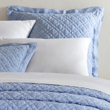 Washed Linen French Blue Quilted Sham