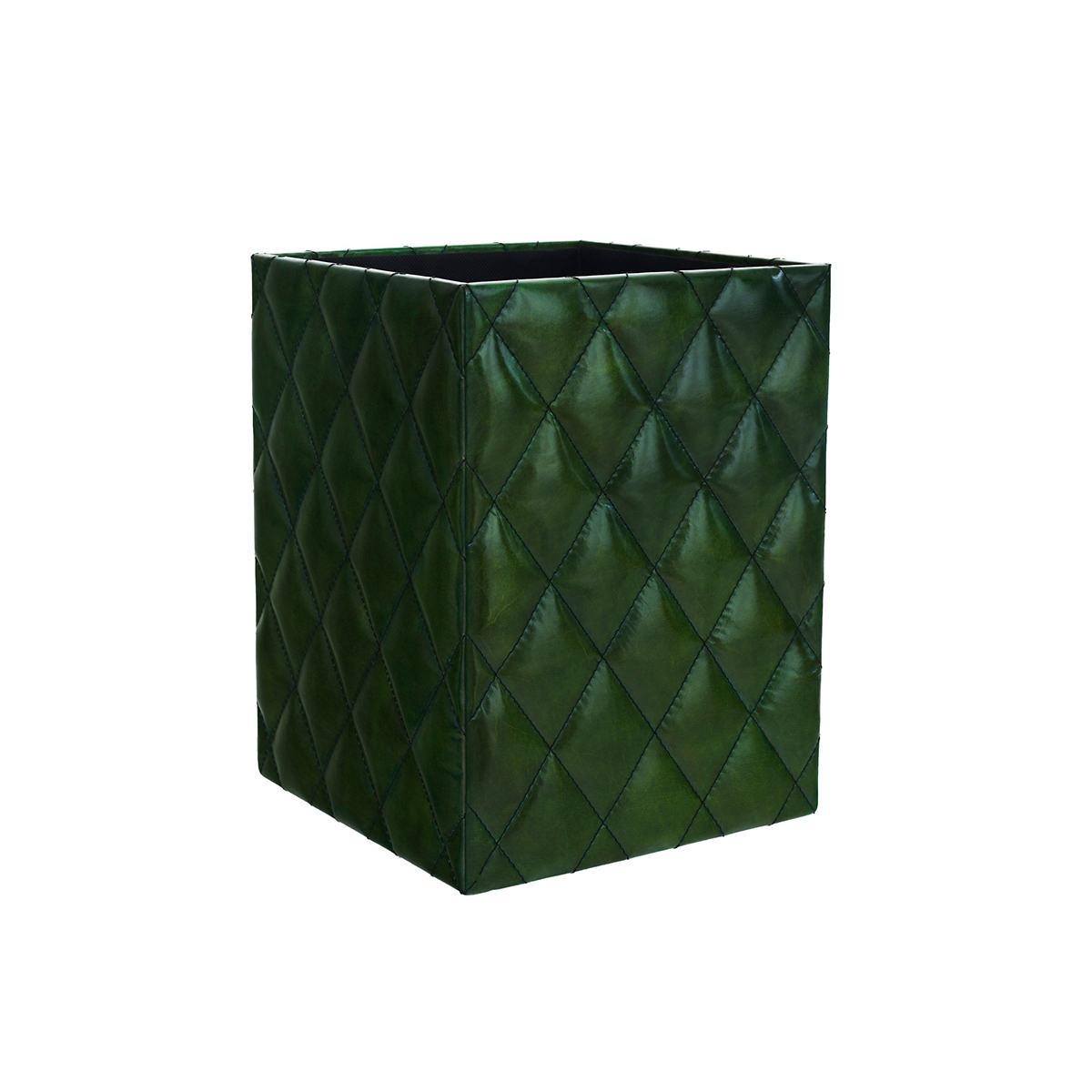 Watson Leather Evergreen Wastebasket