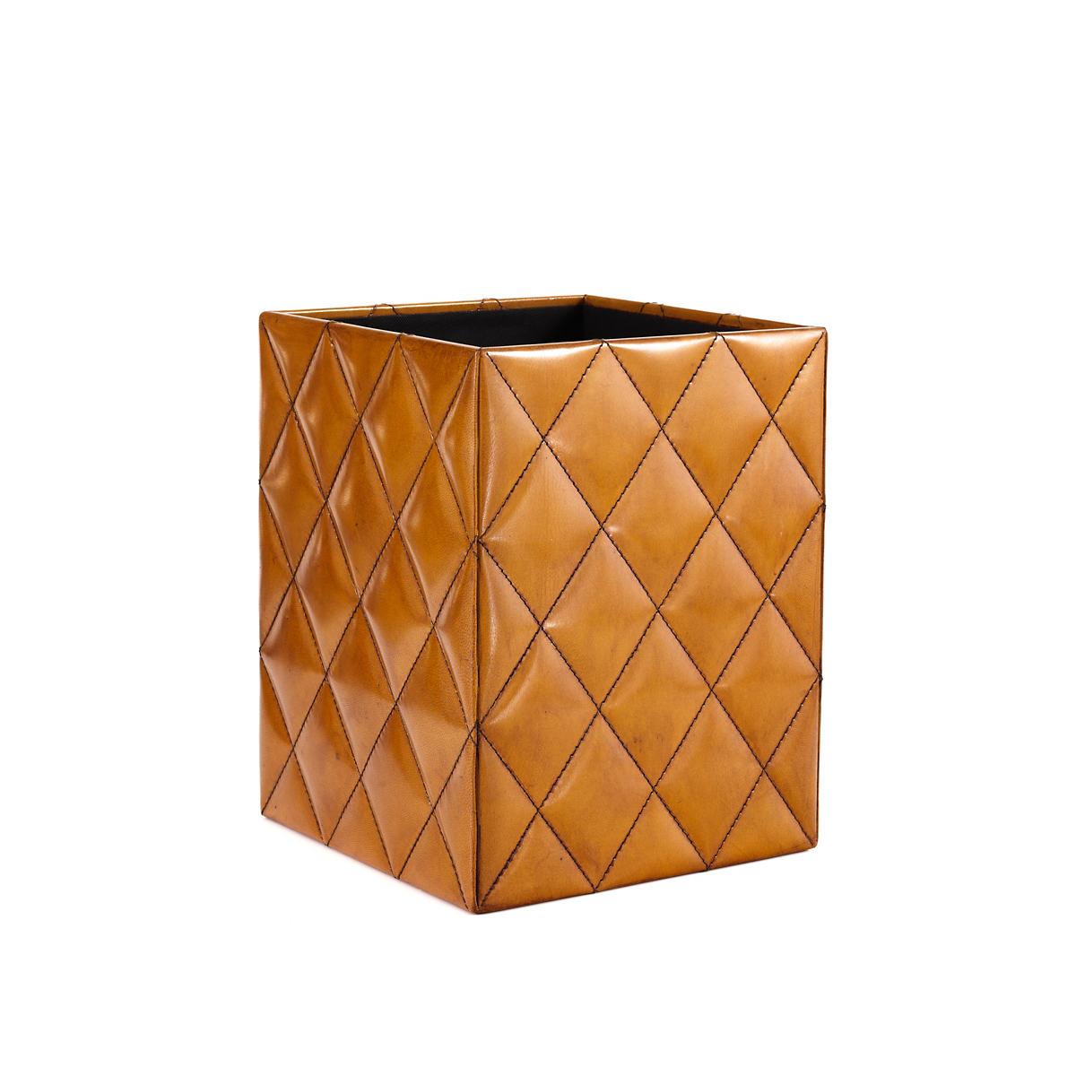 Watson Leather Ochre Wastebasket