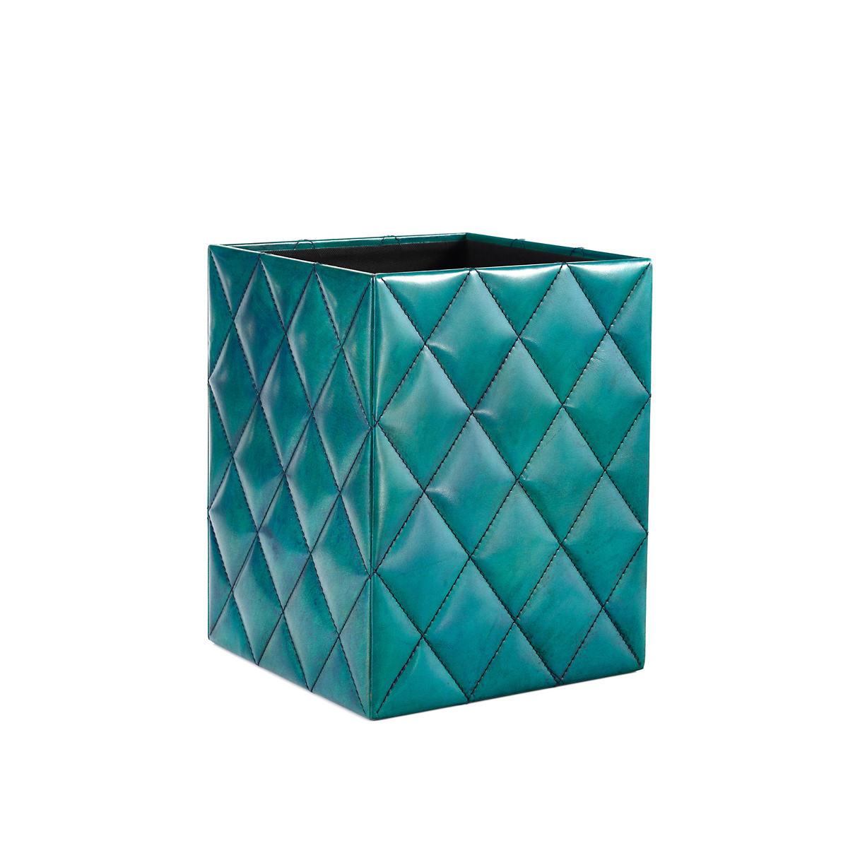Watson Leather Turquoise Wastebasket