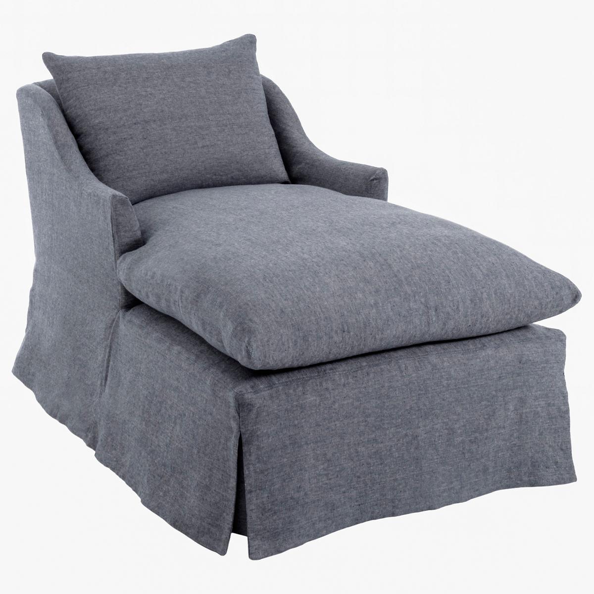 Weathered Linen Chambray Namaste Slipcovered Chaise