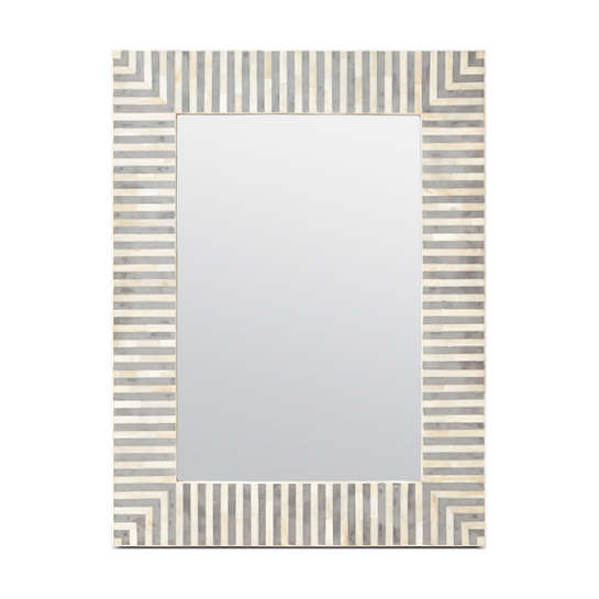 White/Gray Stripe Malena Mirror