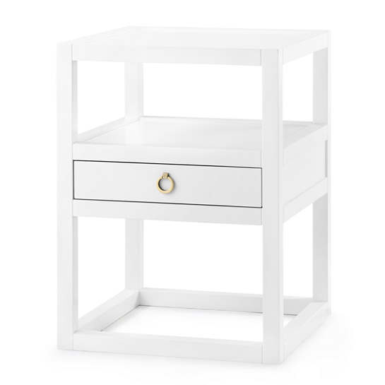 White Nelson 1-Drawer Side Table