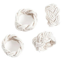 White Sailor Knot Napkin Rings Set/4