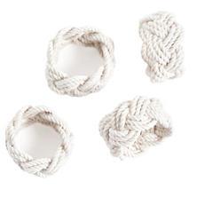 White Sailor Knot Napkin Rings Set/4